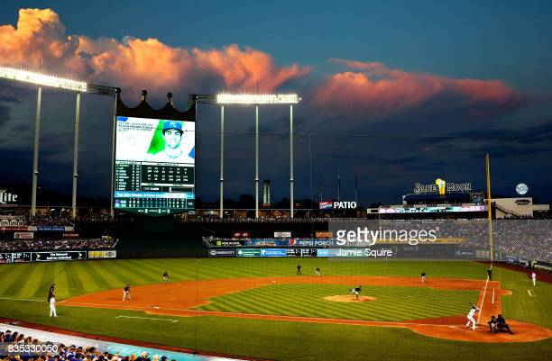 A general view during the 3rd inning of the game between the Cleveland Indians and the Kansas City Royals at Kauffman Stadium on August 18 2017 in...