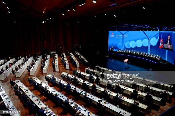 General view during the 45th Ordinary UEFA Congress at 2m2c Montreux Music & Convention Centre on April 20 in Montreux, Switzerland.