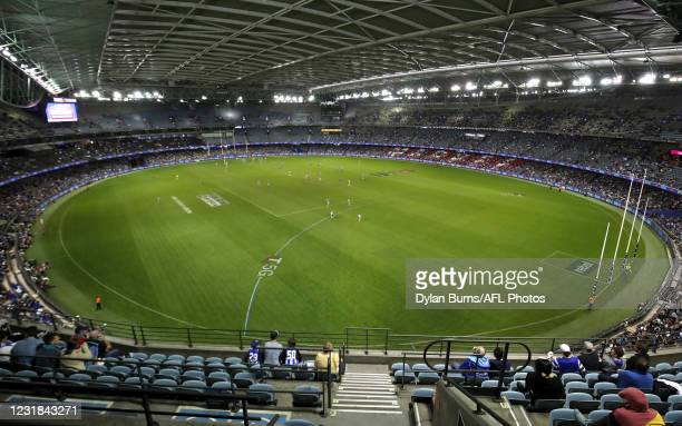 General view during the AFL Round 01 match between the North Melbourne Kangaroos and the Port Adelaide Power at Marvel Stadium on March 21, 2021 in...