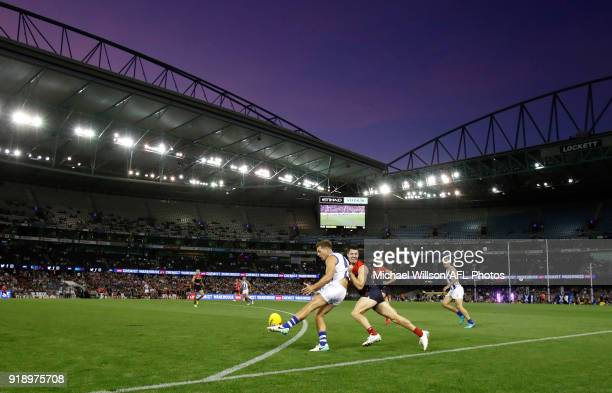 A general view during the AFLX match between the North Melbourne Kangaroos and the Melbourne Demons at Etihad Stadium on February 16 2018 in...