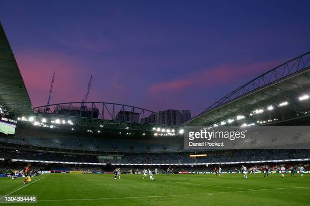 General view during the A-League match between the Melbourne Victory and Western United at Marvel Stadium, on February 27 in Melbourne, Australia.