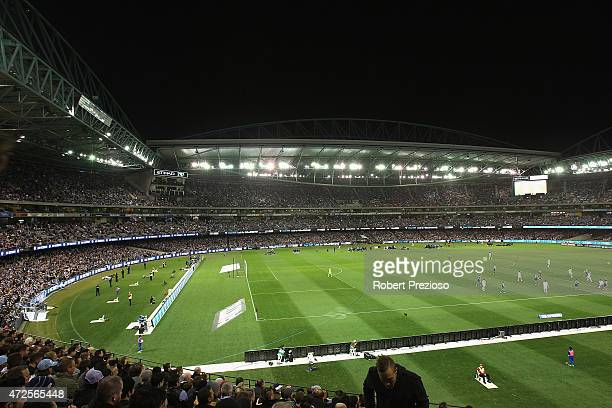A general view during the ALeague semi final match between Melbourne Victory and Melbourne City at Etihad Stadium on May 8 2015 in Melbourne Australia