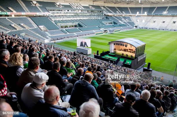 A general view during the Annual Meeting of Borussia Moenchengladbach at BorussiaPark on April 16 2018 in Moenchengladbach Germany