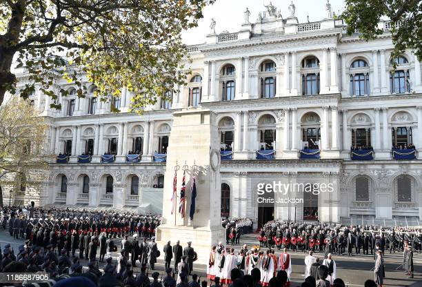 A general view during the annual Remembrance Sunday memorial at The Cenotaph on November 10 2019 in London England The armistice ending the First...