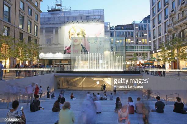 A general view during the Apple store opening in Milan at Piazza Liberty on July 25 2018 in Milan Italy