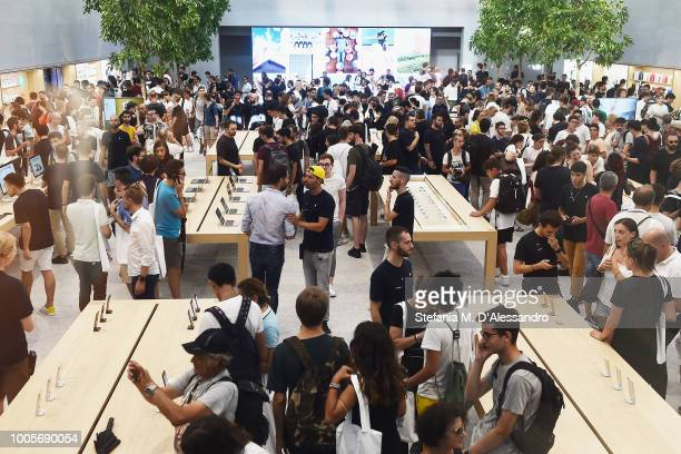 A general view during the Apple store opening in Milan at Piazza Liberty on July 26 2018 in Milan Italy
