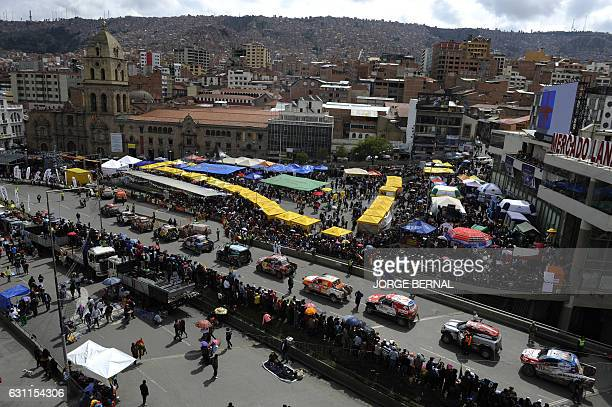 TOPSHOT General view during the arrival of competitors of the 2017 Dakar Rally in La Paz on January 7 2017 The Dakar was trapped by heavy rains on...