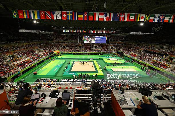 A general view during the at the medal ceremony for Women's Floor on Day 11 of the Rio 2016 Olympic Games at the Rio Olympic Arena on August 16 2016...