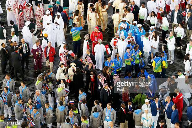 A general view during the athletes parade during the opening ceremony of the London 2012 Olympic Games at the Olympic Stadium on July 27 2012 in...