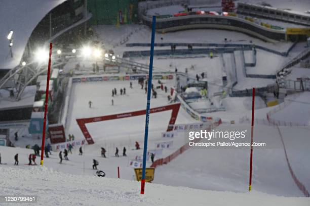 General view during the Audi FIS Alpine Ski World Cup Men's Slalom on January 26, 2021 in Schladming Austria.