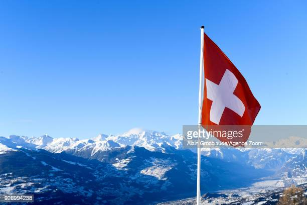 A general view during the Audi FIS Alpine Ski World Cup Women's Combined on March 4 2018 in CransMontana Switzerland