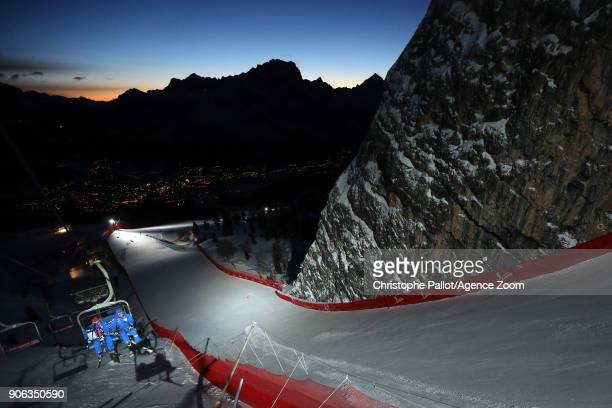A general view during the Audi FIS Alpine Ski World Cup Women's Downhill Training on January 18 2018 in Cortina d'Ampezzo Italy