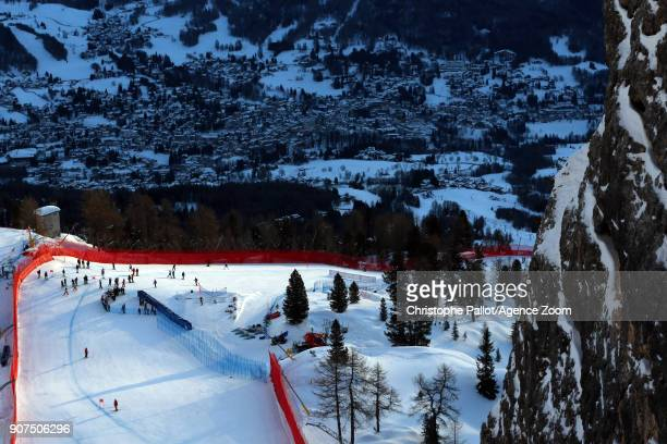 A general view during the Audi FIS Alpine Ski World Cup Women's Downhill on January 19 2018 in Cortina d'Ampezzo Italy