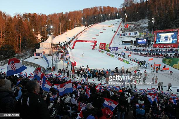 A general view during the Audi FIS Alpine Ski World Cup Women's Slalom on January 03 2017 in Zagreb Croatia