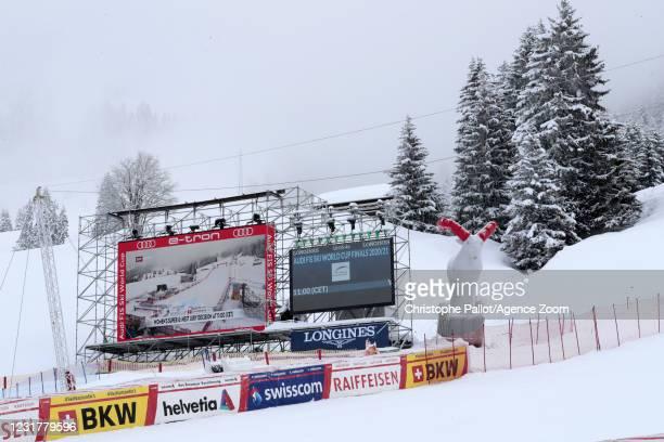 General view during the Audi FIS Alpine Ski World Cup Women's Super Giant Slalom on March 18, 2021 in Lenzerheide, Switzerland.