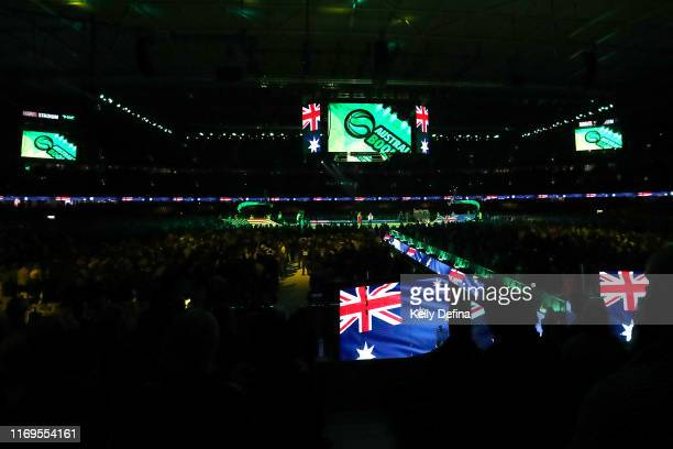 General view during the Australian national anthem during the International Basketball Friendly match between the Australian Boomers and Team USA...