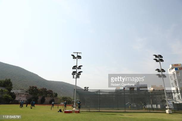 General view during the Australian practice session at ACA-VDCA Stadium ahead of game one in the T20I Series between India and Australia on February...