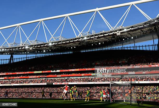 A general view during the Barclays Premier League match between Arsenal and Norwich City at The Emirates Stadium on April 30 2016 in London England