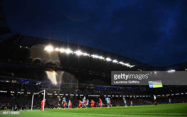General View during the Barclays Premier League match between Manchester City and Liverpool at the Etihad Stadium on August 25 2014 in Manchester...