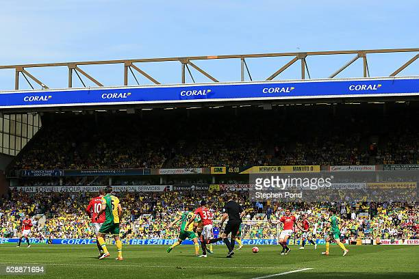 A general view during the Barclays Premier League match between Norwich City and Manchester United at Carrow Road on May 7 2016 in Norwich England