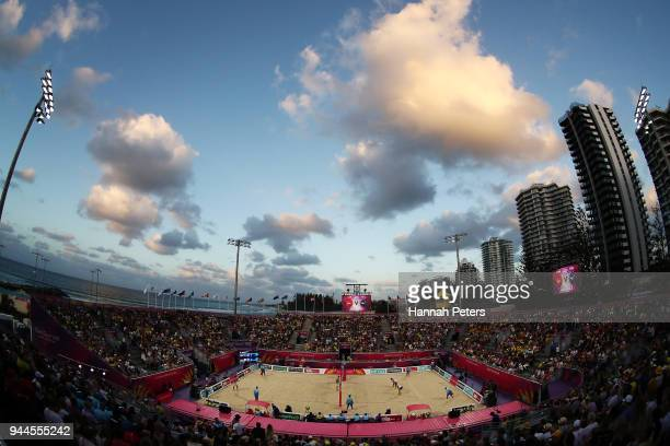A general view during the Beach Volleyball Men's semifinal match between Ben O'Dea and Sam O'Dea of New Zealand and Samuel Pedlow and Sam Schachter...