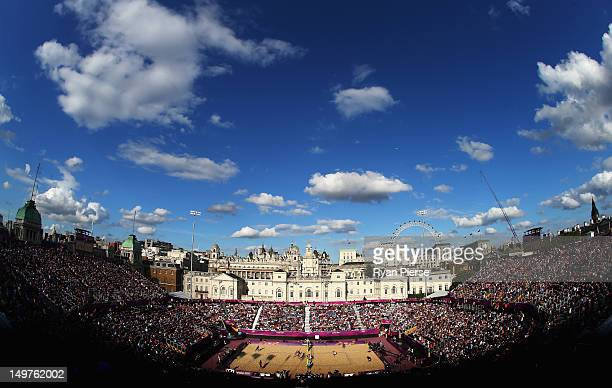 A general view during the Beach Volleyball Round of 16 matches on Day 7 of the London 2012 Olympic Games at Horse Guards Parade on August 3 2012 in...