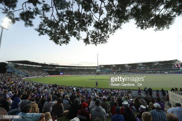 A general view during the Big Bash League eliminator finals match between the Hobart Hurricanes and the Sydney Thunder at Blundstone Arena on January...