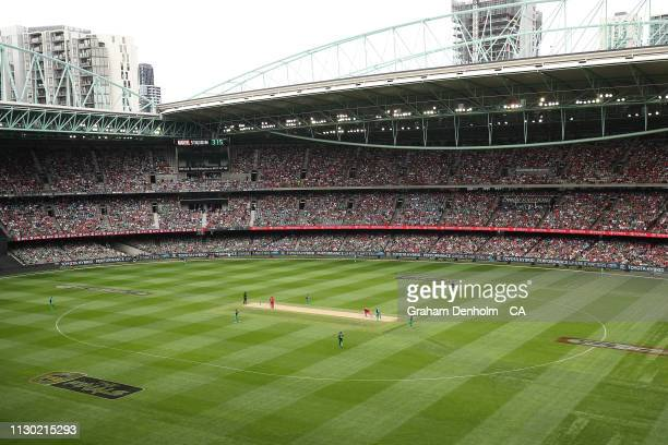 General view during the Big Bash League Final match between the Melbourne Renegades and the Melbourne Stars at Marvel Stadium on February 17, 2019 in...