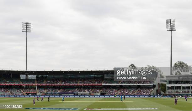 A general view during the Big Bash League match between the Hobart Hurricanes and the Adelaide Strikers at the University of Tasmania Stadium on...