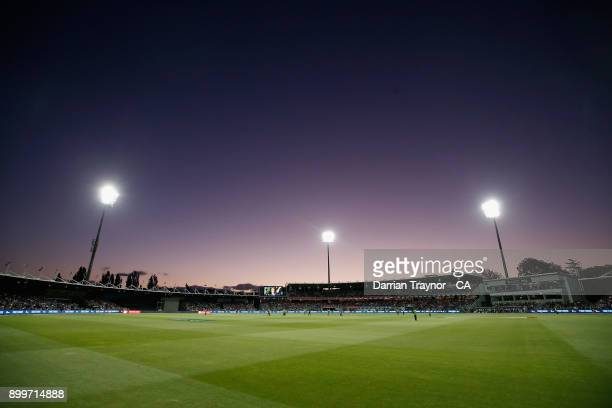 A general view during the Big Bash League match between the Hobart Hurricanes and the Sydney Thunder at University of Tasmania Stadium on December 30...