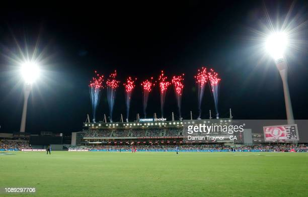 General view during the Big Bash League match between the Melbourne Renegades and the Adelaide Strikers at GMHBA Stadium on January 03, 2019 in...