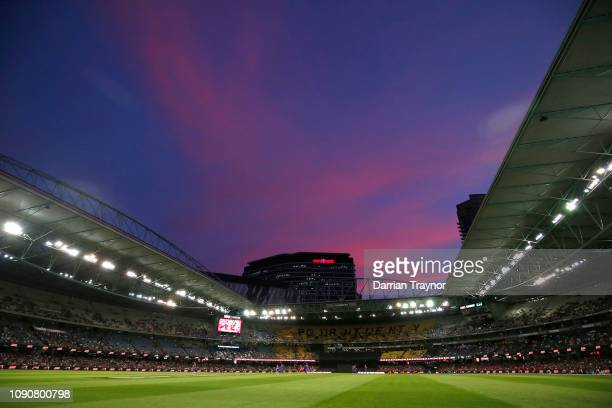 General view during the Big Bash League match between the Melbourne Renegades and the Hobart Hurricanes at Marvel Stadium on January 07, 2019 in...