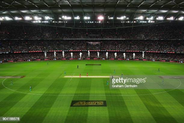 A general view during the Big Bash League match between the Melbourne Renegades and the Melbourne Stars at Etihad Stadium on January 12 2018 in...
