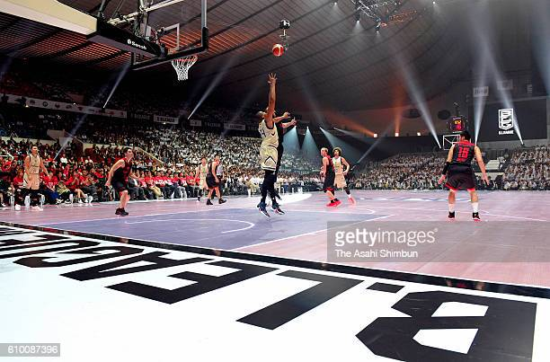 A general view during the BLeague opening match between Alvark Tokyo and Ryukyu Golden Kings at the Yoyogi National Gymnasium on September 22 2016 in...