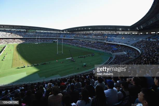 A general view during the Bledisloe Cup test match between New Zealand All Blacks and Australian Wallabies at Nissan Stadium on October 27 2018 in...