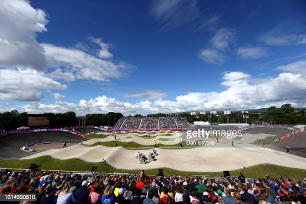 A general view during the BMX races on Day Nine of the European Championships Glasgow 2018 at on August 10 2018 in Glasgow Scotland This event forms...