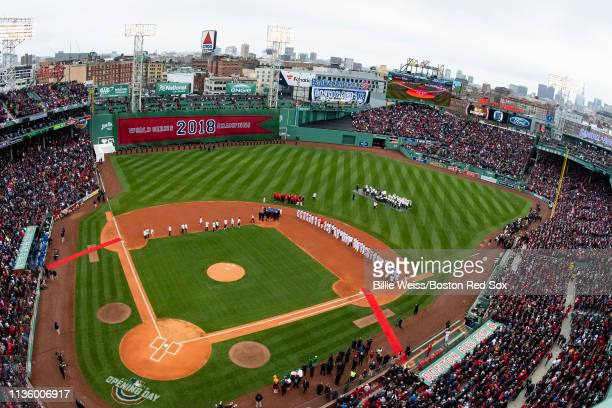 A general view during the Boston Red Sox 2018 World Series championship ring ceremony before the Opening Day game against the Toronto Blue Jays on...