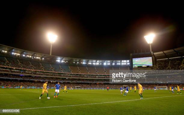 A general view during the Brasil Global Tour match between Australian Socceroos and Brazil at Melbourne Cricket Ground on June 13 2017 in Melbourne...