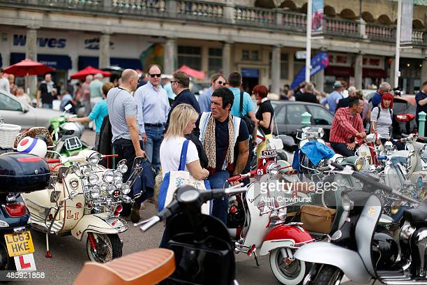 A general view during the Brighton Mod Weekender where mods and their scooters gather on the annual bank holiday weekend event on August 30 2015 in...