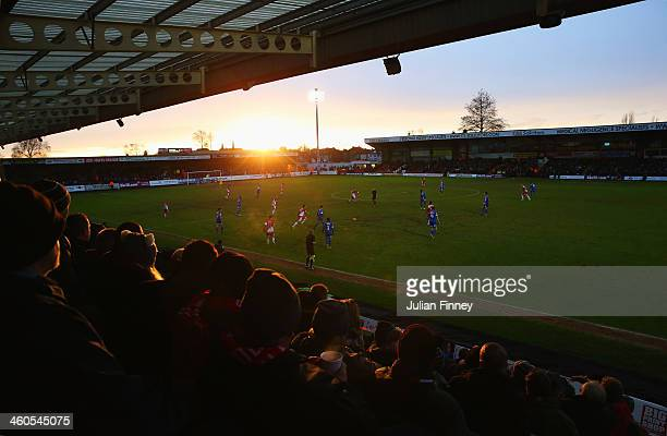 General view during the Budweiser FA Cup third round match between Kidderminster Harriers and Peterborough United at Aggborough Stadium on January 4,...