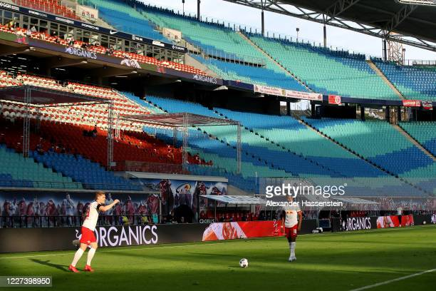 General view during the Bundesliga match between RB Leipzig and Hertha BSC at Red Bull Arena on May 27, 2020 in Leipzig, Germany. The Bundesliga and...