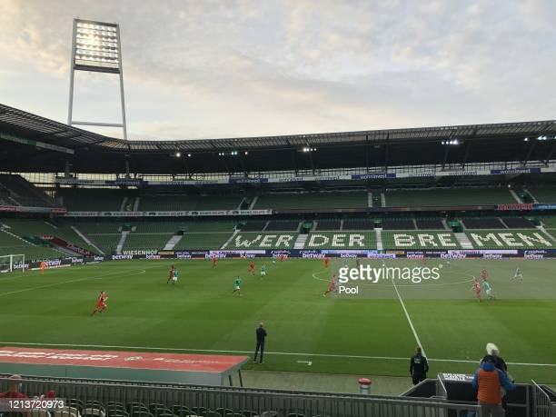 General view during the Bundesliga match between SV Werder Bremen and Bayer 04 Leverkusen at Wohninvest Weserstadion on May 18, 2020 in Bremen,...