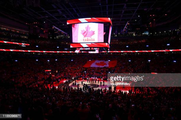 A general view during the Canadian national anthem prior to Game Five of the 2019 NBA Finals between the Golden State Warriors and the Toronto...