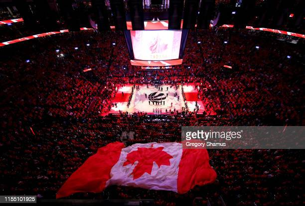 General view during the Canadian national anthem prior to Game Five of the 2019 NBA Finals \ at Scotiabank Arena on June 10, 2019 in Toronto, Canada....