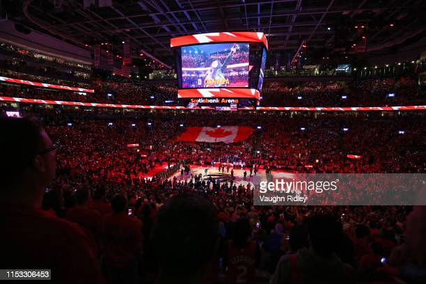 A general view during the Canadian national anthem prior to Game Two of the 2019 NBA Finals between the Golden State Warriors and the Toronto Raptors...