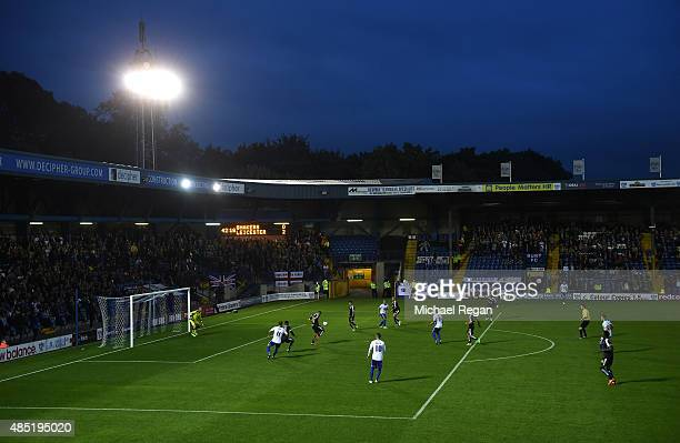 A general view during the Capital One Cup second round match between Bury and Leicester City at Gigg Lane on August 25 2015 in Bury England