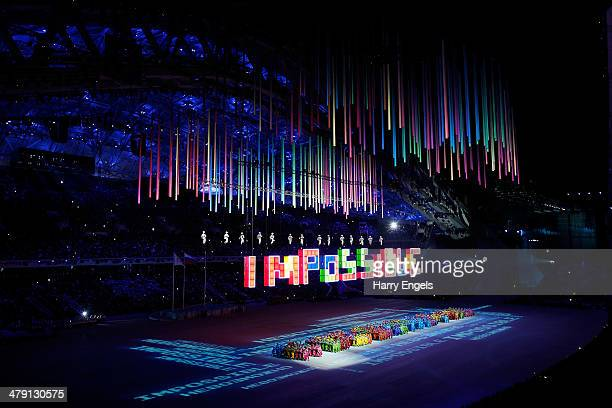 A general view during the Closing Ceremony of the 2014 Paralympic Winter Games at Fisht Olympic Stadium on March 16 2014 in Sochi Russia