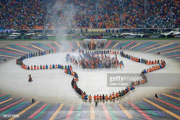 A general view during the closing ceremony prior to the 2013 Africa Cup of Nations Final between Nigeria and Burkina Faso at the National Stadium in...