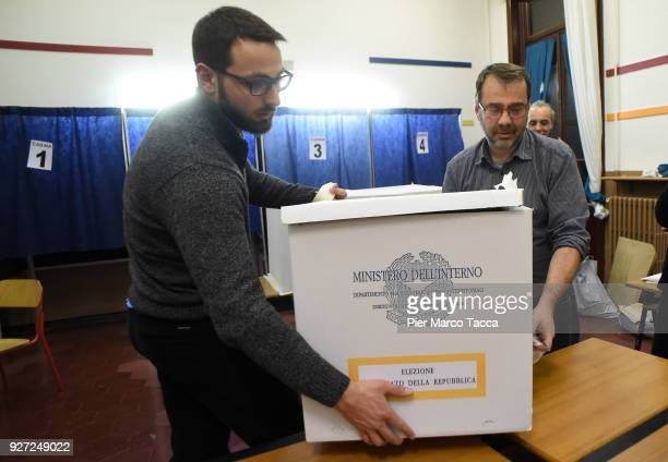 A general view during the counting of ballot papers in a polling station during the 2018 general election on March 4 2018 in Milan Italy The economy...