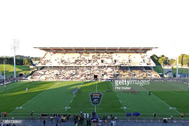 General view during the cultural challenges during the Test match between the Maori All Blacks and Manu Samoa at Mt Smart Stadium on July 03, 2021 in...